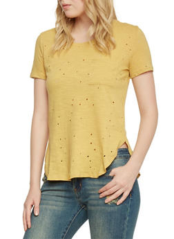 Distressed Front Pocket T Shirt - MUSTARD - 1402069398216