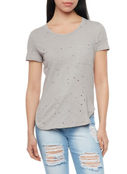Distressed Front Pocket T Shirt - 1402069398216