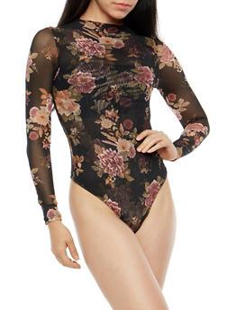 Floral Mesh Mock Neck Bodysuit - 1402069398278