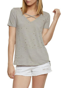 Lasercut T Shirt with Caged Neckline - 1402069398305