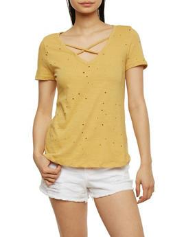 Lasercut T Shirt with Caged Neckline - MUSTARD S - 1402069398305
