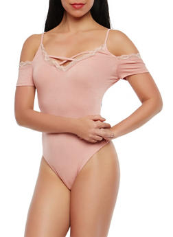 Off the Shoulder Lace Trim Bodysuit - 1402069398331