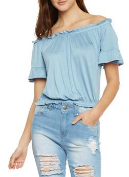 Off The Shoulder Soft Knit Top - 1402069398383