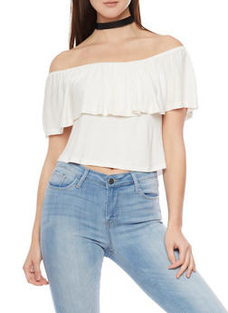 Off The Shoulder Top with Ruffled Overlay - IVORY - 1402069398392