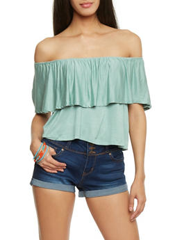 Off The Shoulder Top with Ruffled Overlay - 1402069398392