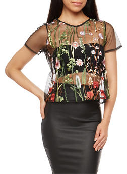 Floral Embroidered Mesh Top - 1402069398617
