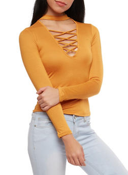 Lace Up Choker Neck Top - 1402069398866
