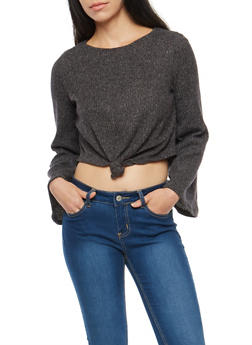 Knotted Bell Sleeve Cropped Sweater - 1402069398875