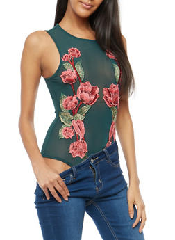 Floral Applique Mesh Bodysuit - 1402069398928
