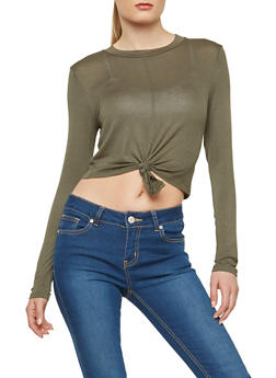 Long Sleeve Knot Front Crop Top - 1402069399023