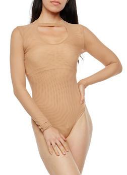 Keyhole Mesh Thong Bodysuit - 1402069399047