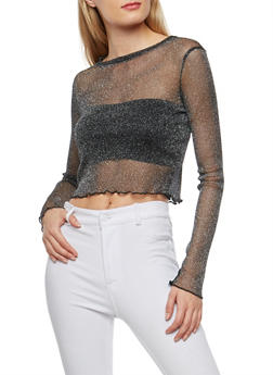 Lurex Mesh Crop Top - 1402069399091