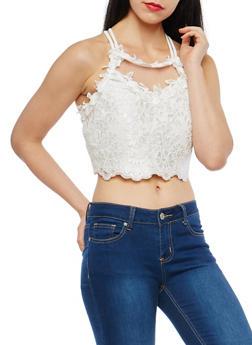 Mesh Crochet Crop Top - 1402069399104