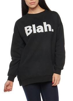 Blah Graphic Fleece Lined Sweatshirt - 1402069399138