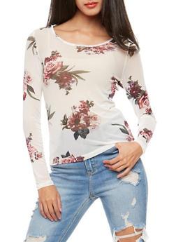 Floral Mesh Long Sleeve Top - 1402069399153