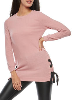 Soft Knit Side Lace Up Sweater - 1402069399183