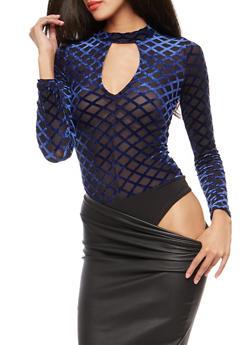 Velvet Diamond Print Mesh Keyhole Bodysuit - NAVY - 1402069399202