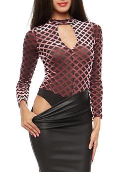 Velvet Diamond Print Mesh Keyhole Bodysuit - 1402069399202