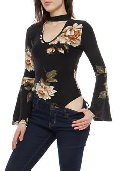 Soft Knit Floral Print Thong Bodysuit - 1402069399286