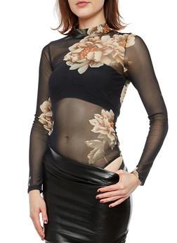Floral Mesh Thong Bodysuit - 1402069399296