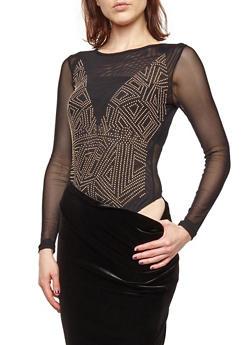Mesh Studded Thong Bodysuit - 1402069399324