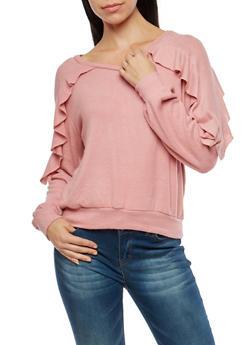 Ruffled Soft Knit Sweater - BLUSH - 1402069399334