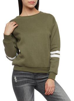 Fleece Lined Varsity Stripe Sweatshirt - OLIVE - 1402069399369