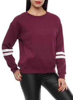 Fleece Lined Varsity Stripe Sweatshirt - 1402069399369