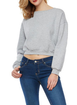 Fleece Lined Lace Up Back Sweatshirt - 1402069399370
