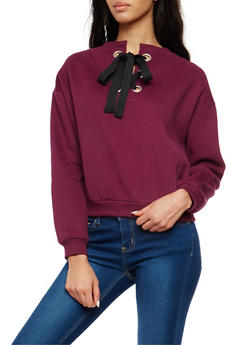 Fleece Lined Lace Up Back Sweatshirt - 1402069399370