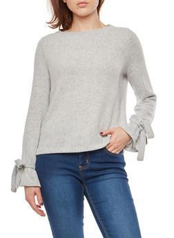 Soft Knit Faux Tie Sleeve Sweater - 1402069399443