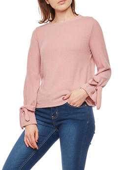 Soft Knit Faux Tie Sleeve Sweater - MAUVE - 1402069399443