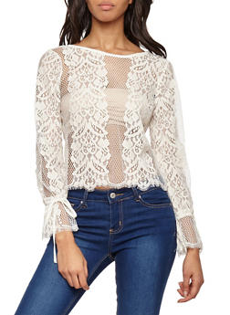 Long Tie Sleeve Lace Top - WHITE - 1402069399519