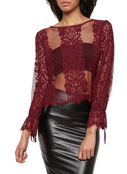 Long Tie Sleeve Lace Top - 1402069399519