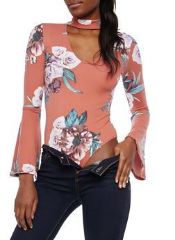 Floral Choker Neck Bodysuit - 1402069399550