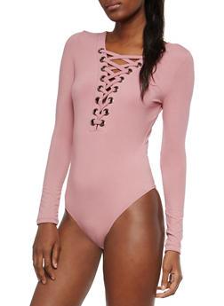 Soft Knit Lace Up Bodysuit - 1402069399551