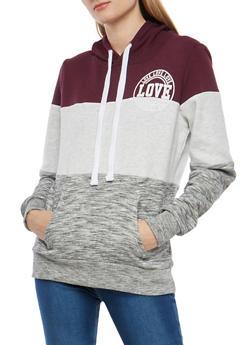 Love Graphic Color Block Hooded Sweatshirt - 1402069399603