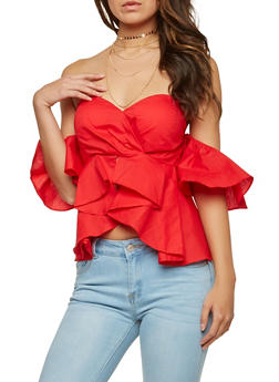 Ruffle Off the Shoulder Top - 1402069399641