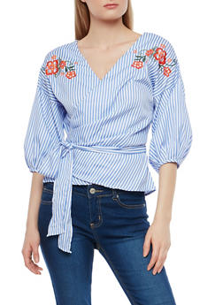 Embroidered Striped Wrap Top - 1402069399643