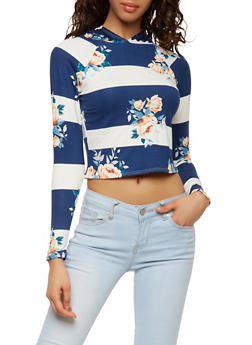 Striped Floral Soft Knit Hooded Top - 1402072240055