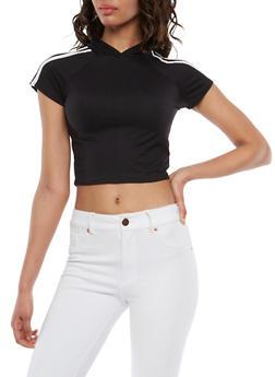 Athletic Stripe Hooded Crop Top - BLACK/WHITE - 1402072241053