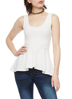 Textured Sleeveless Peplum Top with Faux Suede Choker - OFF WHITE - 1402072244543