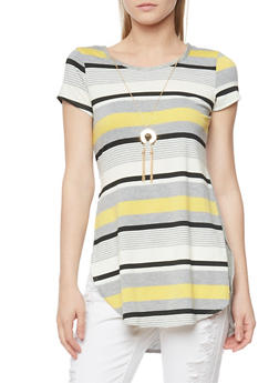 Short Sleeve Striped High Low Tunic Top with Necklace - 1402072245403
