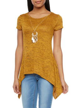Asymmetrical Knit Top with Necklace - MUSTARD - 1402072245509