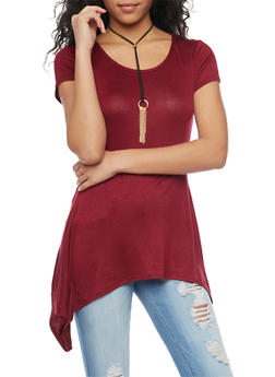 Short Sleeve Sharkbite Tunic Top with Necklace - 1402072245519
