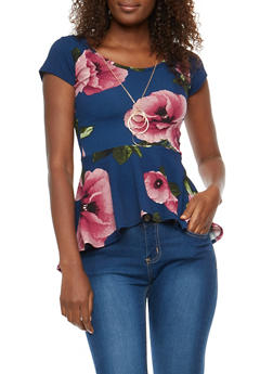 Floral Crepe Peplum Top with Necklace - 1402072245728