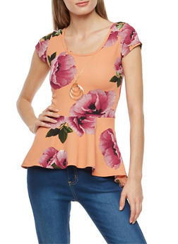 Floral Crepe Peplum Top with Necklace - BLUSH MAUVE - 1402072245728