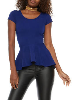 High Low Peplum Top with Choker - ROYAL - 1402072245738