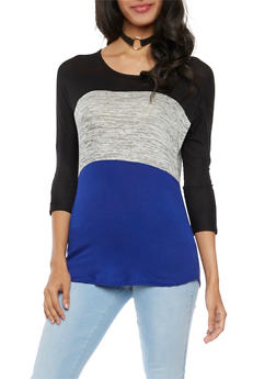 Color Block Knit Top with Necklace - 1402072245918