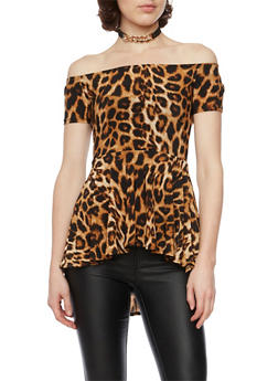 Off the Shoulder Leopard Peplum Top with Necklace - 1402072245920